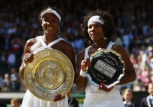 ORG XMIT: 19295855 LONDON - JULY 05:  (FILE PHOTO) Venus Williams of United States poses with the Championship trophy and Serena Williams of United States poses with the runners up trophy after the women's singles Final match against Serena Williams of United States on day twelve of the Wimbledon Lawn Tennis Championships at the All England Lawn Tennis and Croquet Club on July 5, 2008 in London, England.  (Photo by Ryan Pierse/Getty Images)  Celebrating 125 Years Of Wimbledon  Please refer to the following profile on Getty Images Archival for further imagery.  http://www.gettyimages.co.uk/Search/Search.aspx?EventId=115973863&EditorialProduct=Archival Fashions  http://www.gettyimages.co.uk/Search/Search.aspx?EventId=115973067&EditorialProduct=Archival  For further imagery also see this lightbox http://www.gettyimages.co.uk/Account/MediaBin/LightboxDetail.aspx?Id=19295855&MediaBinUserId=3936288 ORIG FILE ID: 55258327